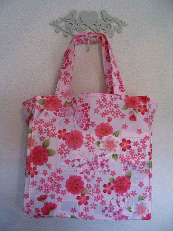 Japanese Butterflies and Cherry Blossoms in Pink TIGHT 'N' TIDY Tote Reusable Shopping Bag