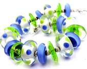Polka Dot Bracelet - Colorful Bracelet - Periwinkle Bracelet - Summer Bracelet -Glass Beaded Bracelet - Lime Green Bracelet - Glass Bracelet