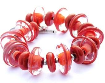 Chunky Coral Bracelet - Romantic Bracelet - Statement Bracelet - Romantic Jewelry - Summer Bracelet - Pink Bracelet - Glass Bracelet