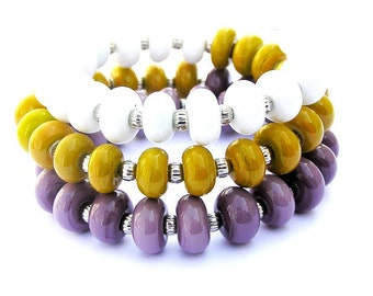 Triple Wrap Bracelet - Jewelry Bracelets - Mustard Yellow Bracelet - Purple Bracelet - Jewelry Fashion - Contemporary Jewellery -