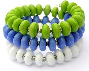 Colorful Bracelet - Summer Wrap Bracelet -Lime Green Bracelet -Mulitcolor Bracelet -Periwinkle Bracelet -White Bracelet -Glass Bead Bracelet
