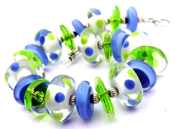 Polka Dot Bracelet, Colorful Bracelet, Periwinkle Bracelet, Green Bracelet, Toggle Bracelet, Unique Bracelet, Fun Bracelet, Funky Bracelet