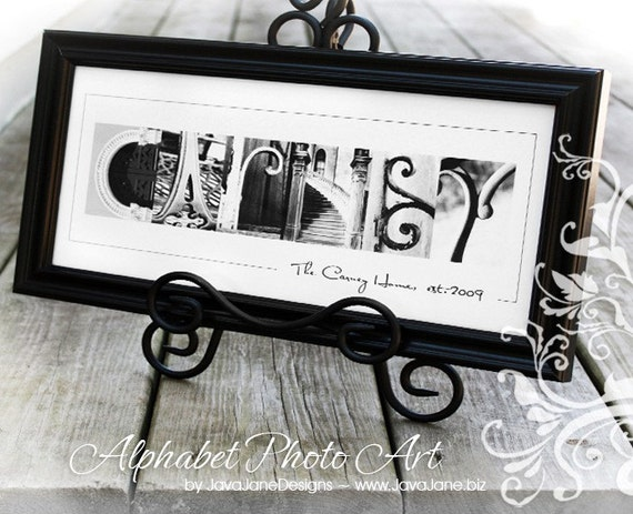 Custom Name or Word Spelled Out in Architecture Letter Photographs (Black and White Photos)