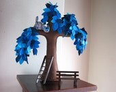 Crazy cat in a weeping willow - Felt Tree