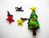 Christmas ornament. Tree with stars and birds. Mobile. Felt decoration wall hanging.