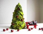 Christmas Tree. Fir with bench and two owls. Felt christmas decoration.
