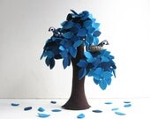 Blue Weeping willow with a family of birds - Felt Tree