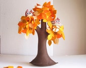Orange Weeping willow with a family of owls - Felt Tree