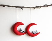 Red moon with owl. Felt Decoration wall hanging.