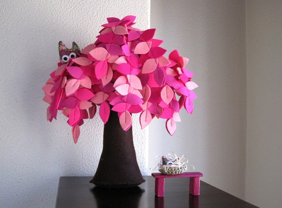 Pink weeping willow. Felt Tree.