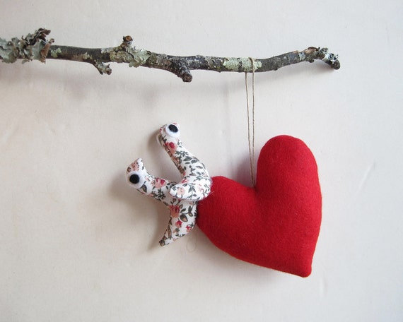 Red Heart with two small birds. Decoration Valentine's gift