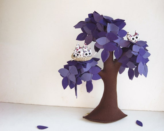 Lilac Weeping willow with a family of owls - Felt Tree