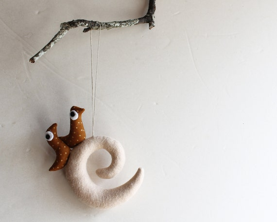 Overcase Letter E with birds. Felt Decoration, wall hanging.