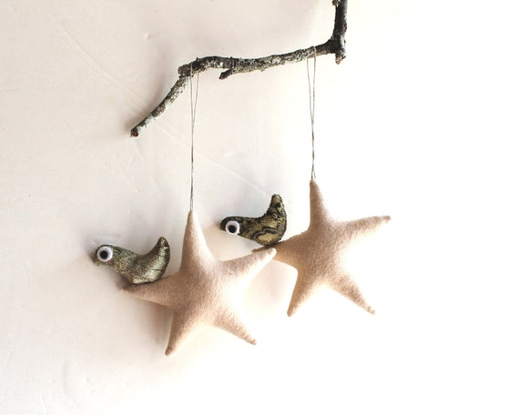Two cream stars with bird. Felt Decoration wall hanging.