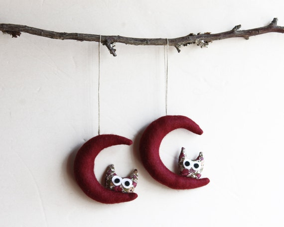 Dark Red moon with owl. Felt Decoration wall hanging.