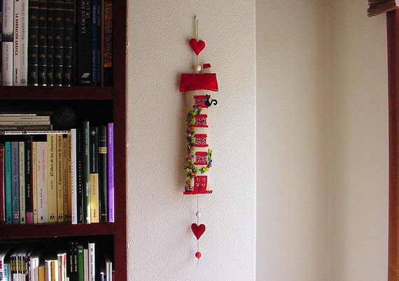 Red House with black cat and two hearts- House warming gift