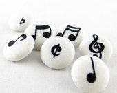 "Fabric Covered Buttons - Simple Music Notes - 16mm 5/8"" - Set of  7 BM020"
