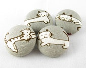 """Fabric Covered Buttons - Relaxing Cats - 22mm 7/8"""" - Set of 4"""