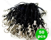 Black Cellphone Charm Strings with Split Ring - 45mm - 50 pieces SS001