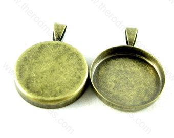 Pendant Setting - 20mm Round Blank Antique Brass Plated Pendant Tray - 30 pcs SF013
