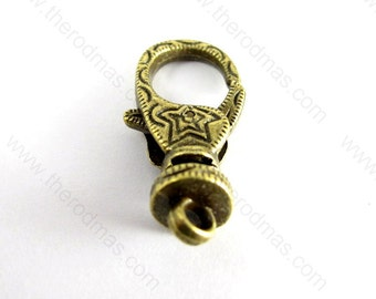 Star Lobster Clasps / Lobster Claw Clasps - Antique Brass - 10 pieces - SK013