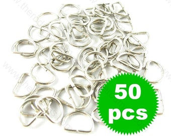 D Rings - 11mm Silver Tone  - 50 pieces SK011