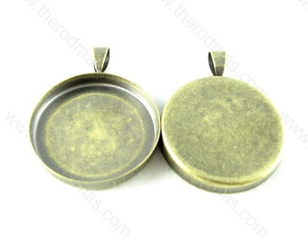 1 inch Pendant Tray, Pendant Setting, 25mm, Round, Blank, Antique Brass Plated  - 10 pcs SF010