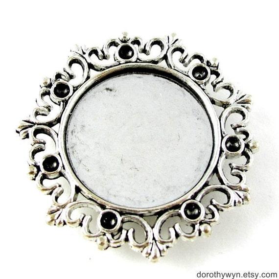 """Antique Silver Bezel Trays for Bracelet Anklet - 28mm 1 1/8"""" - 5 pcs SF001"""