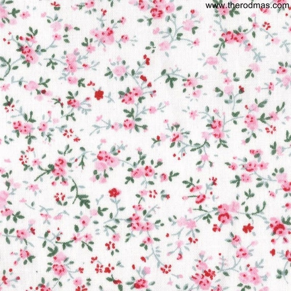 Cotton Floral Fabric - Pink Floral Fabric - 1 Yard FP003