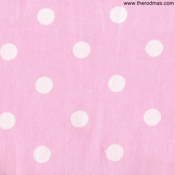 cotton fabric pink polka dot fabric 1 yard by rodmassupplies. Black Bedroom Furniture Sets. Home Design Ideas