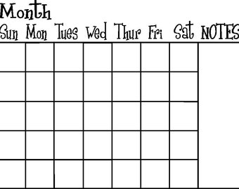 Calendar Vinyl DECAL ONLY to fit in a 16 x 20 frame reverse cut