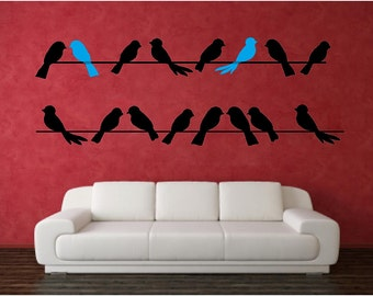 Birds on a wire wall graphic decal