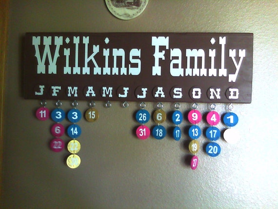 Custom decal for family birthday and anniversary board