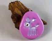 Oh deer, Hand painted art Kawaii Fawn pendant