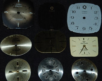 Vintage Antique Watch Dials Steampunk  Faces Parts Altered Art Industrial  F 35