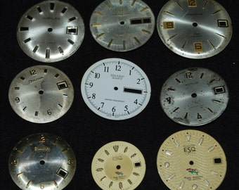 Vintage Antique Watch Dials Steampunk  Faces Parts Altered Art Industrial  f 33