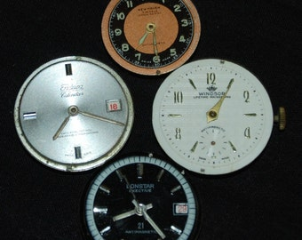 Vintage Antique Industrial Watch Movements with Faces Dials Steampunk Altered Art  IM22