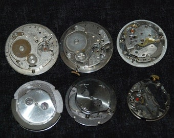 Vintage Antique Round Watch Movements Steampunk Altered Art IM36
