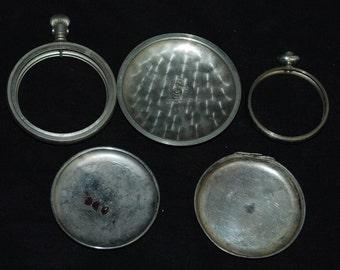 Destash Steampunk Pocket Watch  Parts Frames Backs Industrial Art Grab Bag AP 1