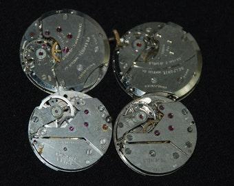 Vintage Antique Round Watch Movements Steampunk Altered Art Assemblage RL 48