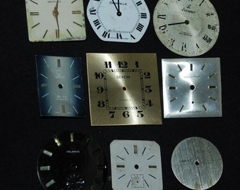 Vintage Antique Watch Dials Steampunk  Faces Parts Altered Art Industrial F 55