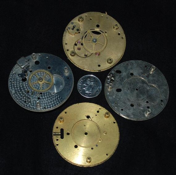 Gorgeous Vintage Antique Watch Pocket Watch Movements Partials Plates Steampunk Altered Art Assemblage Industrial