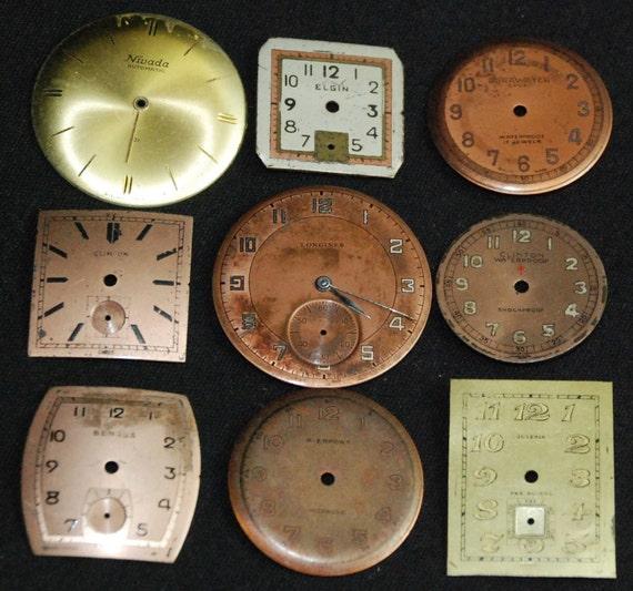Vintage Antique Watch Dials Steampunk  Faces Parts Altered Art  Q43