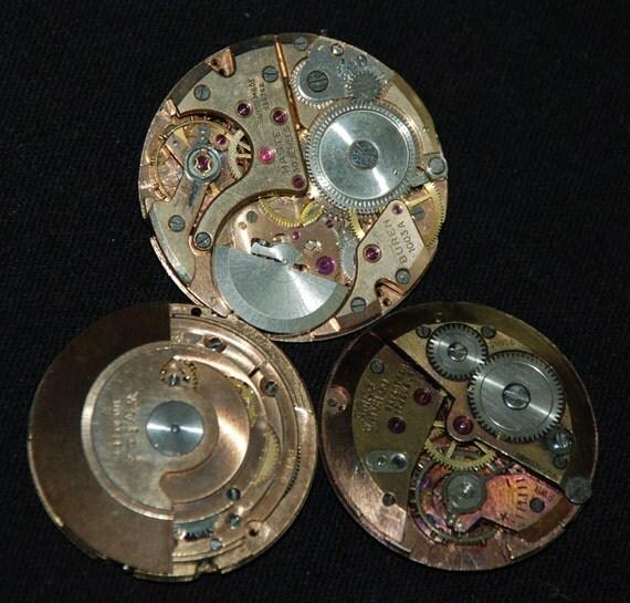 3 Vintage Antique Watch Movements Steampunk Altered Art Assemblage MR21