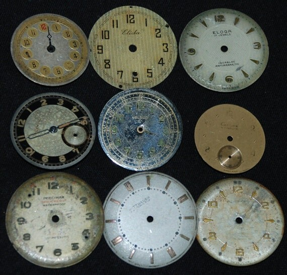Vintage Antique Metal Watch Dials Steampunk  Faces Parts Assemblage Mixed Media R39