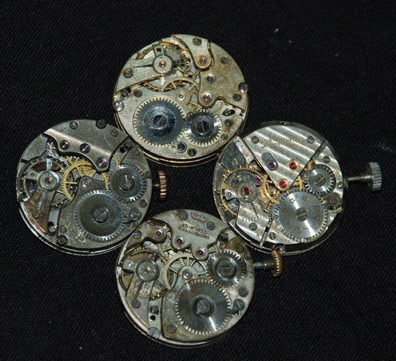 Vintage Antique Round Watch Movements Steampunk Altered Art Assemblage RL18