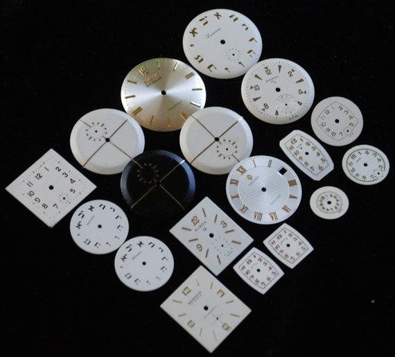 NOS Vintage Antique Watch Dials Steampunk  Faces Parts RT 88