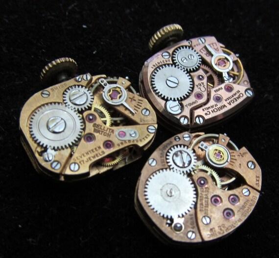 Vintage Antique Watch Movements Steampunk Altered Art Assemblage Industrial TQ 16