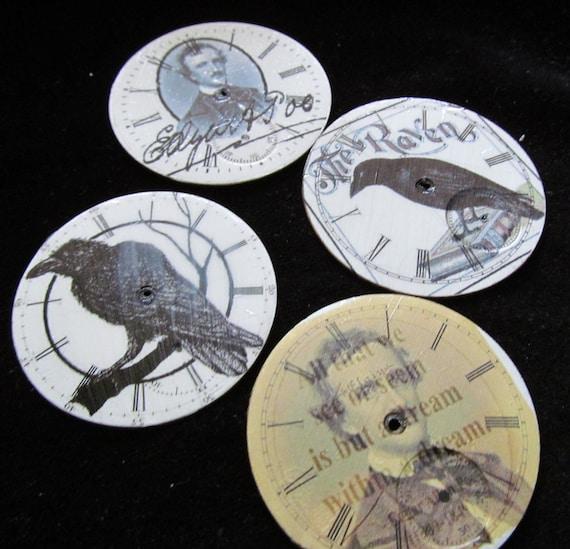 Vintage Antique Mixed Media Watch Dials Porcelain Steampunk  Faces Poe MM 39