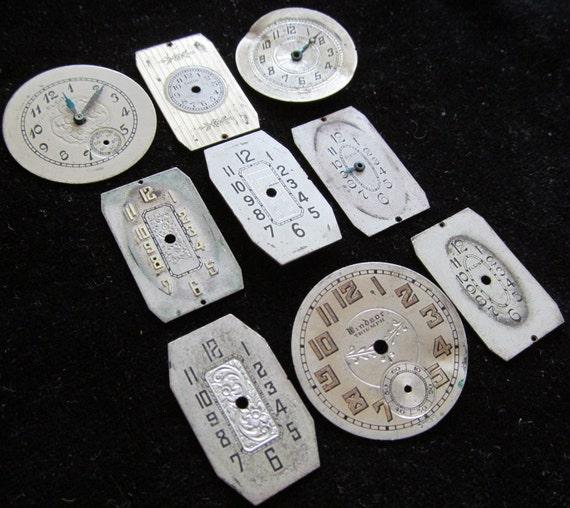 Vintage Antique Victorian Watch Dials Steampunk  Faces Parts VF98